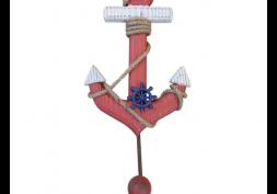 Cabideiro Âncora Vermelha em Madeira