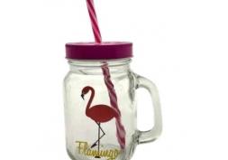 Copo c/ Tampa e Canudo Flamingo 450ml