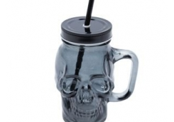 Copo Vidro Soda Cálcico c/ Canudo Skull