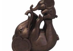 Elefante e Filhote Decorativo Resina