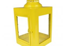Lanterna Marroquina Metal e Vidro Amarela
