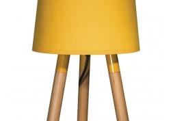 Luminária Mesa Madeira Amarela
