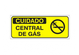 Placa cuidado central de gás (simb.) 49,5x20cm
